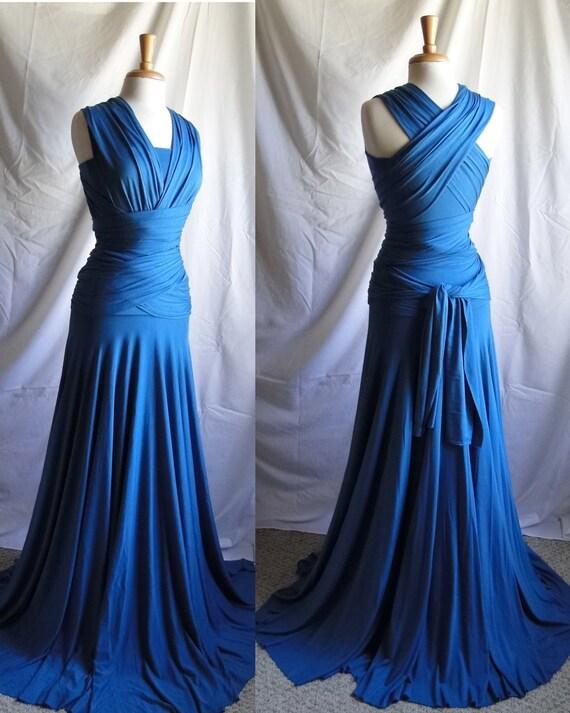 Blue Floor Length Convertible Infinity Dress