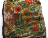 SALE  Vintage Antique Beaded Purse Birds Leaves Flowers  Free Shipping