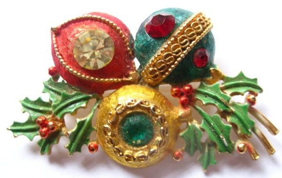 20 PERCENT OFF  Vintage Weiss Christmas Three Ornaments with Holly Brooch