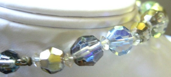 Vintage Aurora Borealis and Clear Rock Crystal Bead Necklace Choker