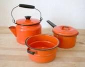 SALE Orange Enamel Kitchen Set
