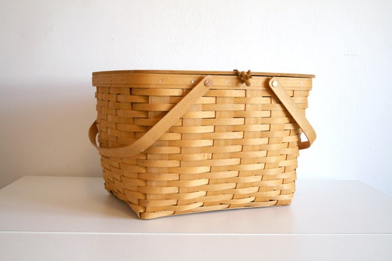 Longaberger picnic basket by boxofhollyhocks on etsy Longaberger baskets for sale
