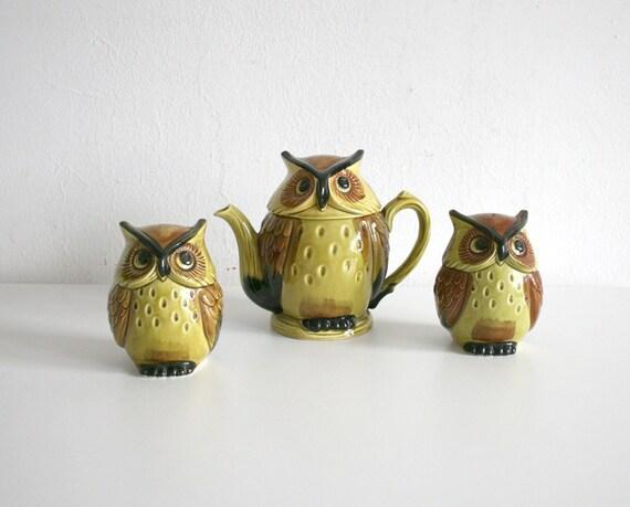 Owl Tea Pot and Shakers