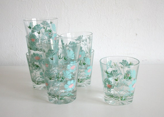 SALE Eight Aqua Floral Tumblers
