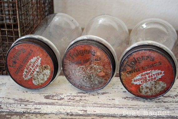 3 old Folgers Coffee jars with Red Lids