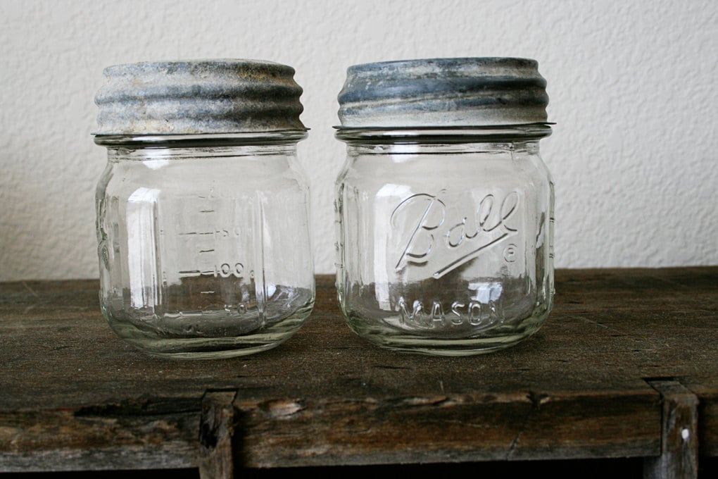two small ball mason jars with zinc and glass lids by rustmagnet. Black Bedroom Furniture Sets. Home Design Ideas