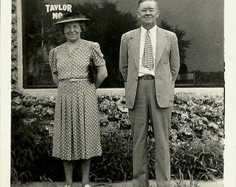 Old Photo - Man and Woman at Taylor Missouri Post Office - Historical Snapshot - WWII era - 1942