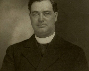 Old Photo - Minister with Clerical Collar - Circa 1920s - Reverend
