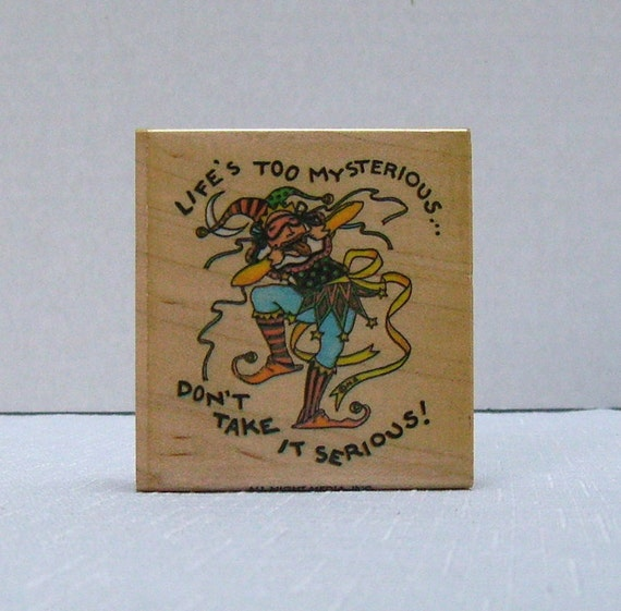 Rubber Stamp - Mary Engelbreit - Lifes Too Mysterious - Wooden Mount