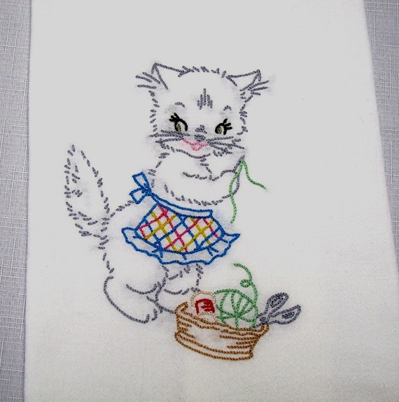 Dish Towel - Kitty Sewing - Hand Embroidered Flour Sack