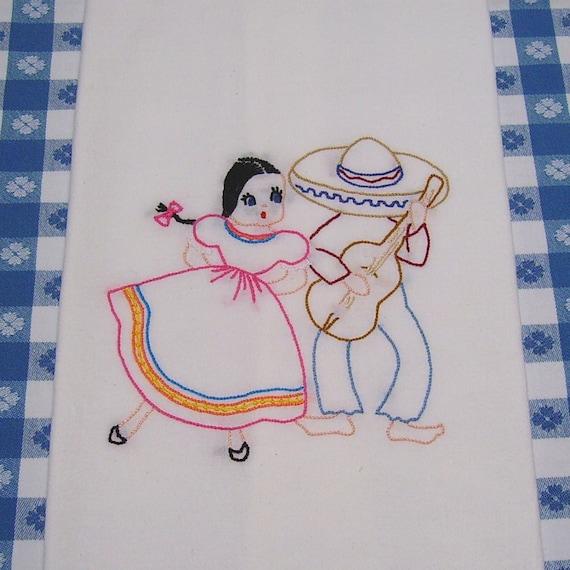 Dish Towel - Mexican Senorita and Senor - Hand Embroidered Flour Sack Towel