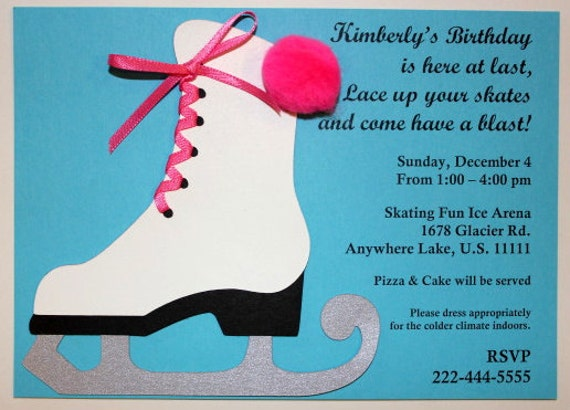 Items similar to Ice Skating - Ice Skate - Die Cut - Handmade - Birthday Party - Invitations on Etsy