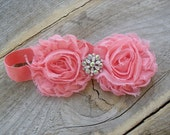 Stunning Coral Double Shabby rosette Flower Headband with beautiful center jewel