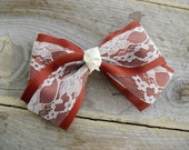 Texas Longhorns Large Hair Bow with lace