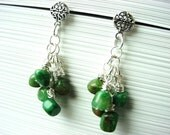 Earrings, sterling silver Celtic knot design and green African jade chip dangle