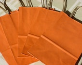 Gift bag, kraft paper, orange striped finish, twisted twine handle (Lot of 5)