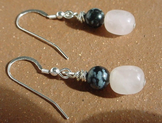 Rose quartz earrings, rose quartz jewelry, snowflake obsidian jewelry