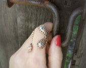 PAISLEY Bronze Ring with Green Aventurine Stones