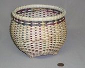 Round Cathead Basket, Hand Woven with Multi-Colored Reed