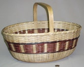 """15% OFF with COUPON CODE """"15percent"""".  Large Oval Shopper, Market Style Basket with Rust Accents, Hand Woven"""