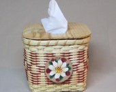 Hand Woven Tissue Basket with Painted Flower on Leather Tie-on, Red Accent Weaving