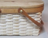 Small, Hand Woven Picnic Basket Style, Purse, Cherry Rim, Lid and handles