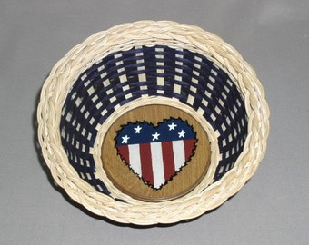SALE - Patriotic Basket with Painted Heart Base, Hand Woven, Americana