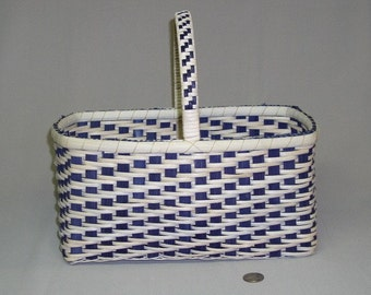 SALE! Twill Weave Market Basket with Wrapped and Woven Handle, Hand Woven