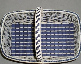 FIANL CLEARANCE!  Twill Weave Market Basket with Wrapped and Woven Handle, Hand Woven