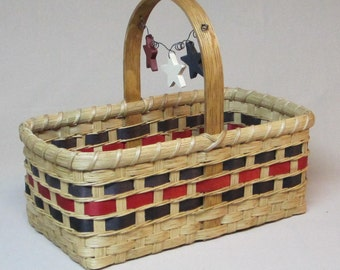SALE! Small Hand Woven Market Basket with Painted Stars on a Wire Attached to the Handle