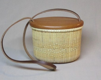 Abby's Nantucket Purse Basket, Natural Cane with Cherry Base and Lid, and Leather Strap, Hand Woven