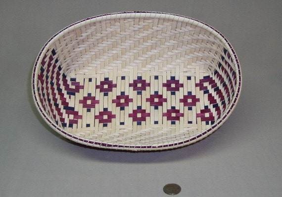 Stars-of-the-South Design Oval Woven Basket, Hand woven