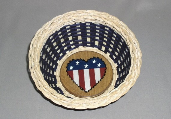 Patriotic Basket with Painted Heart Base, Hand Woven, Americana