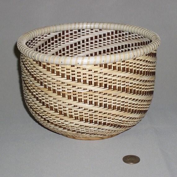 Basket Weaving Nantucket : Hand woven nantucket style basket twill weave zebra wood