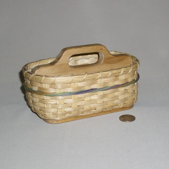 Small Hand Woven Basket with Wooden Base and Divider with Handhold