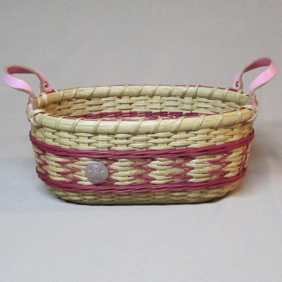 SALE!  Arrows Bread Basket, Hand Woven, Breast Cancer Awareness