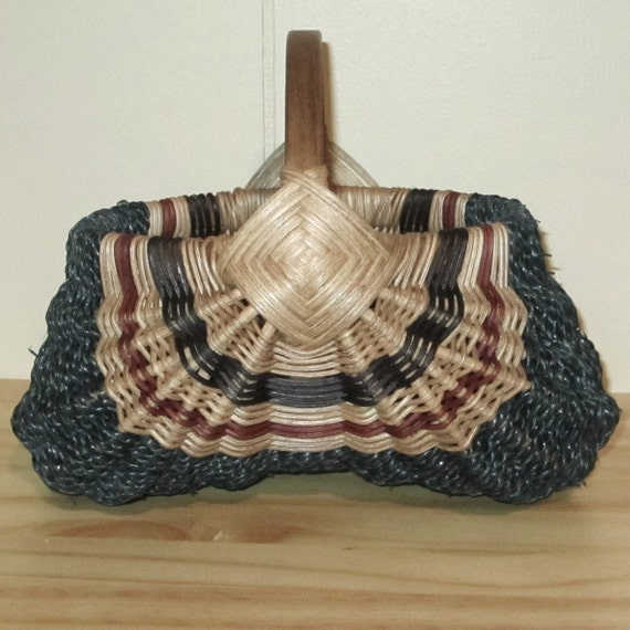Hand Woven Egg Basket with Oak Handle, Blue with a Bit of Natural and Rust