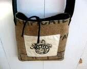 Upcycled Burlap & Tshirt Sling Bag. Eco Friendly. Black. Recycle. Bicycle. FREE Shipping.