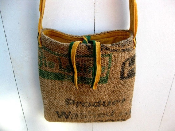 Upcycled Burlap & Tshirt Sling Bag. Eco Friendly. Mustard and Forest Green. Warriors. Sports Tshirt. FREE Shipping.