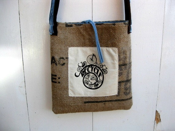 Upcycled Burlap & Tshirt Sling Bag. Eco Friendly. Earthy Brown. Sky Blue. Recycle. Bicycle. FREE Shipping.