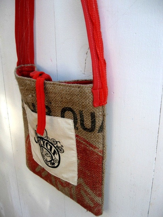 Upcycled Burlap & Tshirt Sling Bag. Eco Friendly. Tangerine. Coral. Recycle. Bicycle. FREE Shipping.