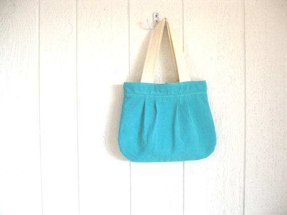 Eco Friendly. Upcycled Tshirt. Pleated Bag. Valentine. Spring. Fashion. For Her. Tropical. Caribbean Waters. Bright. Teal. FREE Shipping.