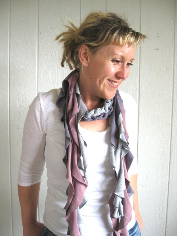Eco Friendly. Upcycled T-Shirt. Fresh Heather. Gray. Summer Scarf Set. FREE Shipping