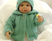 Baby hooded jacket/sweater/coat/hoodie. Matching hat.  Original. Hand knit..All colors. CUSTOM