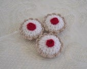 Fake food, 3 crocheted tarts, playfood pretend food  bakewell tarts fake food, tea party toy,washable, display,made to order