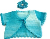 Turquoise baby bolero baby shrug, baby cardigan/sweater. Baby short sleeve top, Summer Sweater, Baby shower, Easter. Spring