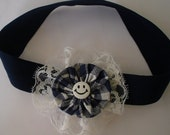 Girls headband, toddler headband, adult headband, child to adult fit. Blue gingham,Lace Navy check.