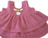 Knitted dress, baby jumper, ruffle style, two tiered, knitted dress, dusky pink. baby knitted dress. warm.  Winter weight
