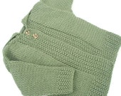 Baby hooded jacket, Childs sweater, knitted coat, baby hoodie.Tassled hood Hand knit. Sage green. 0/3mths