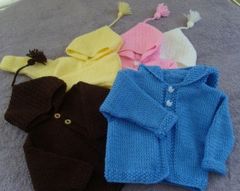 Baby hooded jacket. Handknit, all colors.  newborn to 24months. Custom
